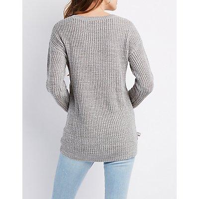Shaker Stitch Lace-Up Detail Sweater