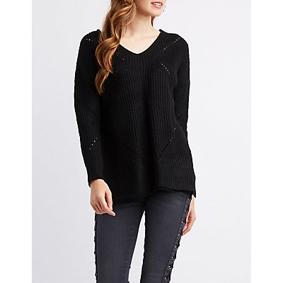Lace-Back V-Neck Shaker Knit Sweater