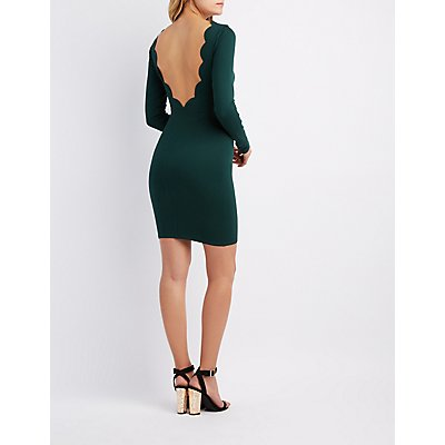 Scalloped Plunging Back Bodycon Dress