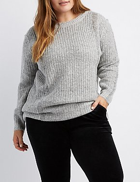 Plus Size Destroyed Shaker Stitch Tunic