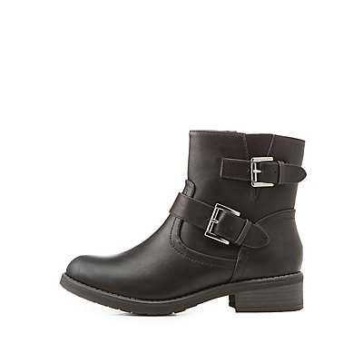 Faux Leather Buckled Ankle Booties