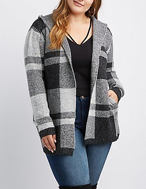 Plus Size Plaid Hooded Open Cardigan
