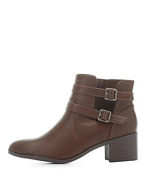 Faux Leather Cut-Out Booties