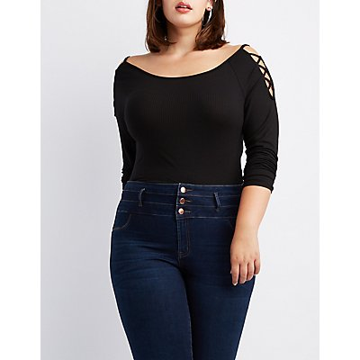 Plus Size Ribbed Knit Criss Cross Cold Shoulder Top
