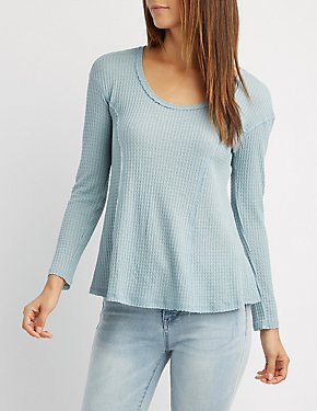Waffled Knit Scoop Neck Top