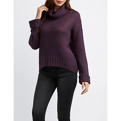 Turtle Neck Pullover Tunic Sweater
