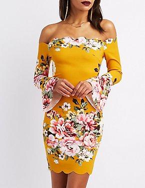 Floral Off-The-Shoulder Cascade Sleeve Dress