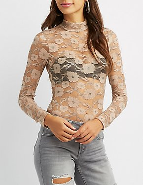 Floral Lace Mock Neck Bodysuit