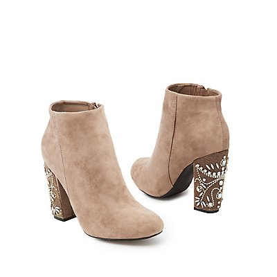 Bamboo Rhinestone Embellished Faux Suede Ankle Booties
