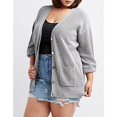 Plus Size Metallic Woven Cardigan