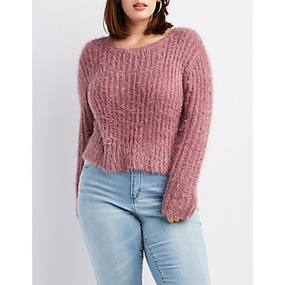 Plus Size Feather Yarn High-Low Sweater