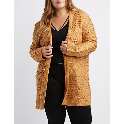 Open-Front Textured Cardigan