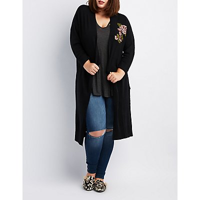 Plus Size Floral Embellished Duster