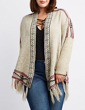 Plus Size Aztec Fringed Hem Cardigan