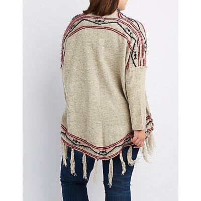 Plus Size Aztec Fringed Hem Cardigan