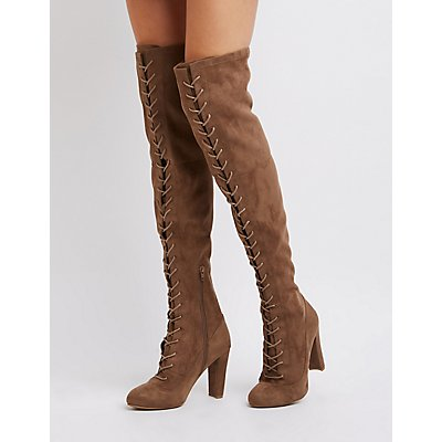 Lace-Up Faux Suede Over-The-Knee Boots