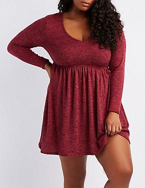Plus Size Hacci Knit V-Neck Skater Dress