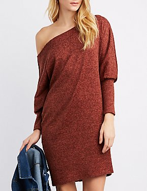 Dolman Sleeve Hacci Knit Sweater Dress