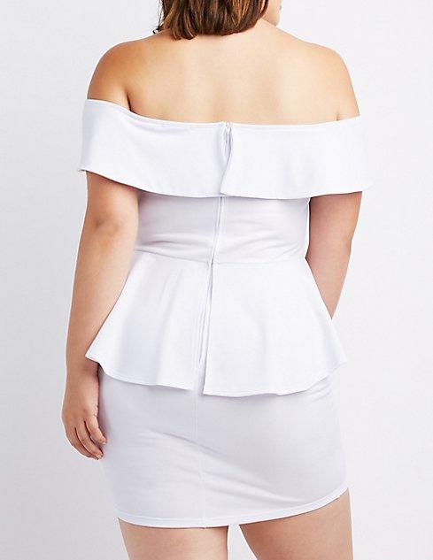 Plus Size Off The Shoulder Peplum Dress Charlotte Russe