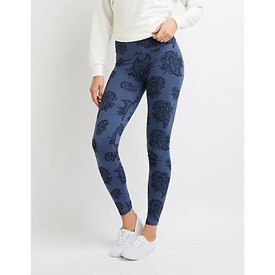 Floral High-Rise Ponte Knit Leggings