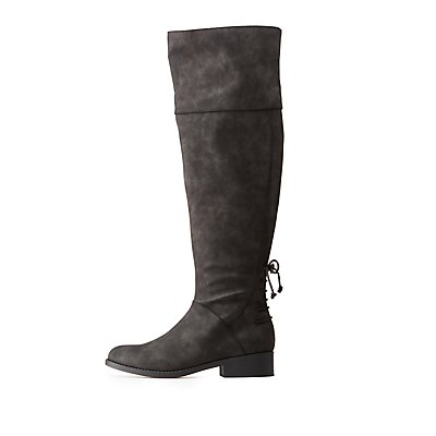 Qupid Distressed Lace-Up Over -The-Knee Boots