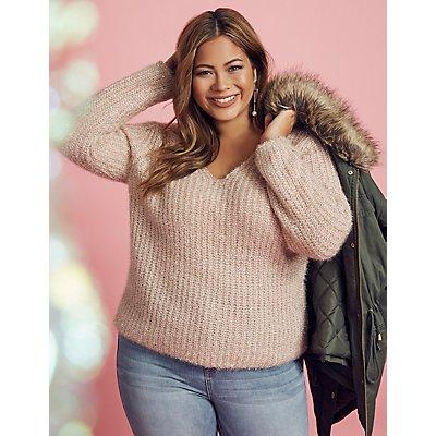 Plus Size Metallic V-Neck Pullover Sweater