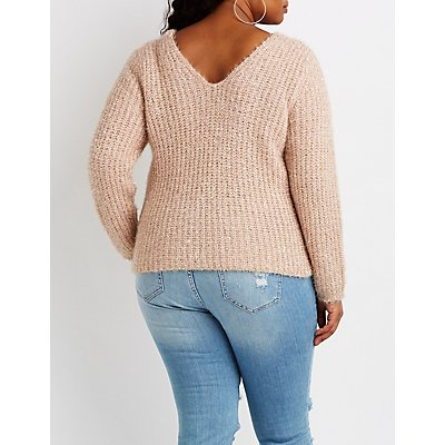 Plus Size Metallic V-Neck Pullover Sweater