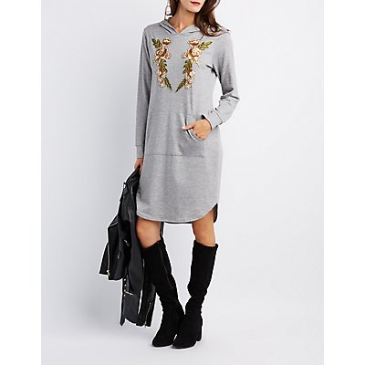 Floral Patch Hooded Sweater Dress
