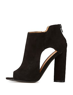 Qupid Faux Suede Peep Toe Ankle Booties