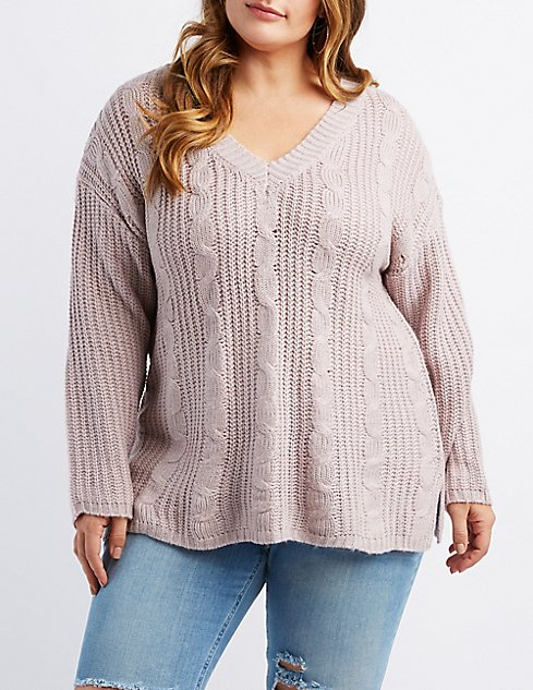 Plus Size Cable Knit V Neck Sweater Charlotte Russe