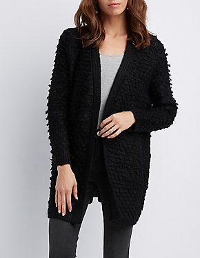 Open-Knit Open Front Cardigan