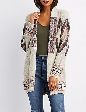 Geometric Open-Front Cardigan