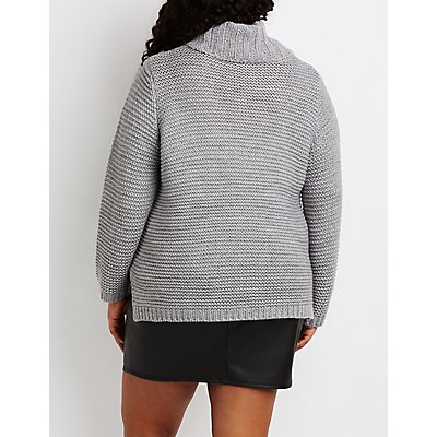 Plus Size Mixed Knit Cowl Neck Sweater