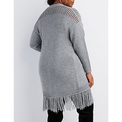 Plus Size Fringe-Trim Open-Front Cardigan