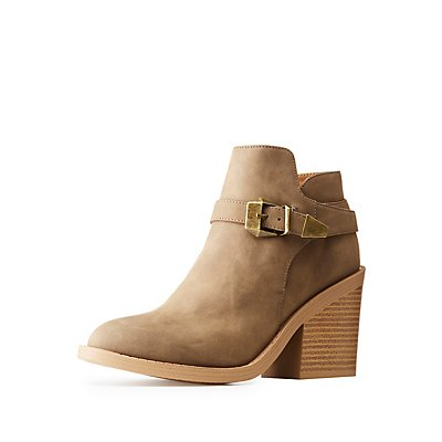 Qupid Faux Nubuck Buckled Ankle Booties