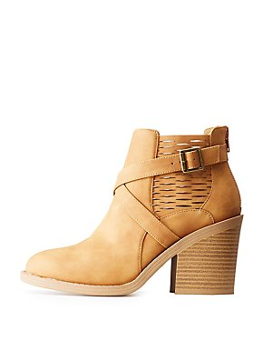 Qupid Laser Cut Buckled Ankle Booties