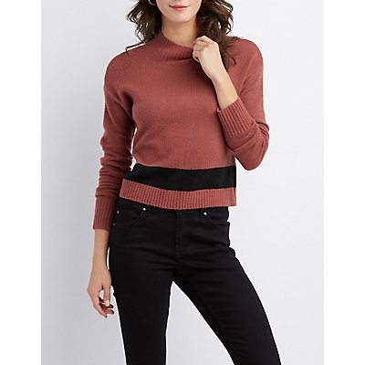 Stripe Cropped Pullover Sweater