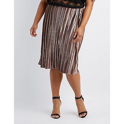 Plus Size Striped Velvet Pencil Skirt