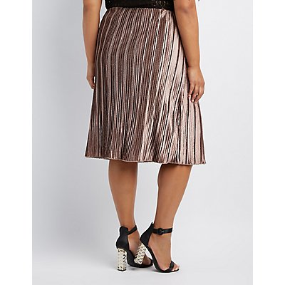 Plus Size Striped Velvet Pencil Skirt