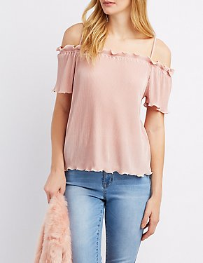 Pleated Metallic Cold Shoulder Top