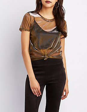 Metallic Mesh Tee Shirt