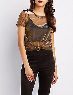 Metallic Mesh Tee Shirt