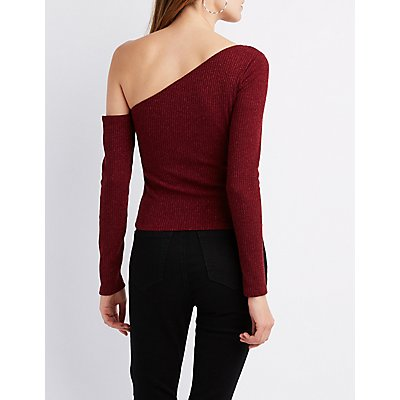 Ribbed Asymmetrical One-Shoulder Top