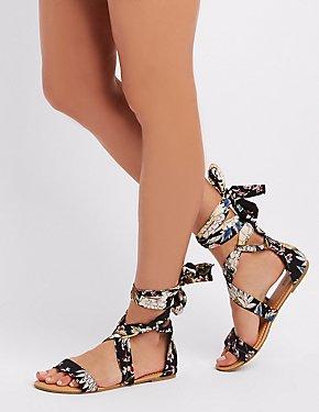 Floral Wrap-Tie Flat Sandals