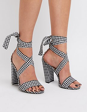 Gingham Print Lace-Up Studded Sandals