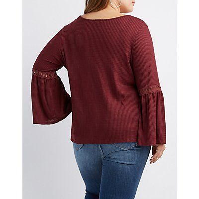 Plus Size Waffle Knit Bell Sleeves Top