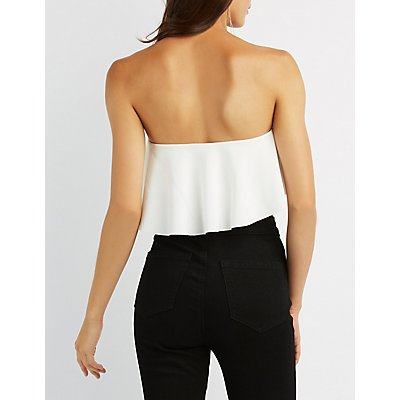 Tiered Ruffle Strapless Crop Top