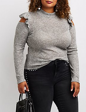 Plus Size Marled & Ribbed Rufle-Trim Cold Shoulder Top