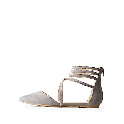 Strappy Pointed Toe D'Orsay Flats