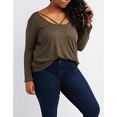 Plus Size Strappy Caged Hacci Top